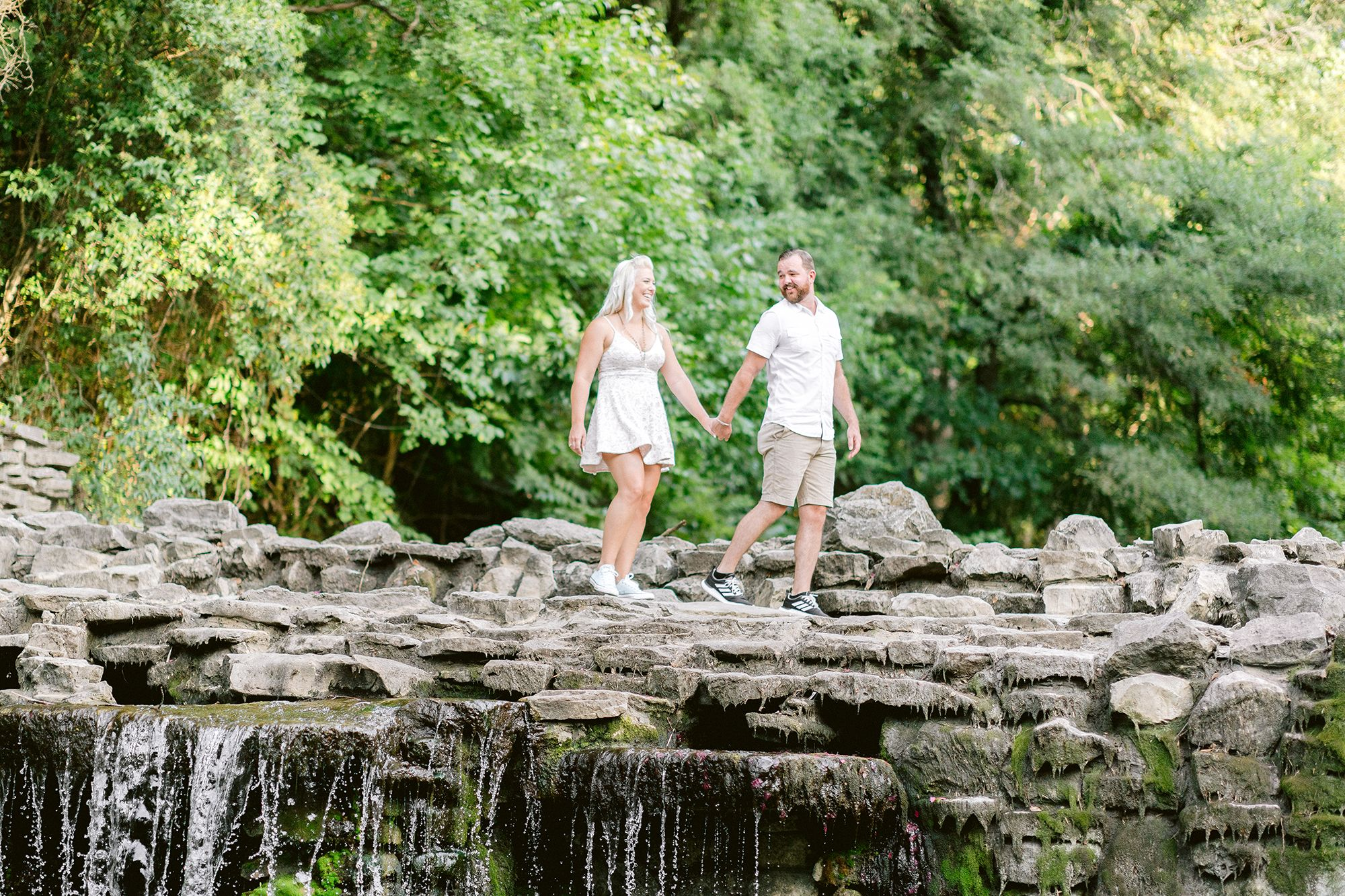 Elizabeth Couch Photography Prairie creek engagement photos waterfall