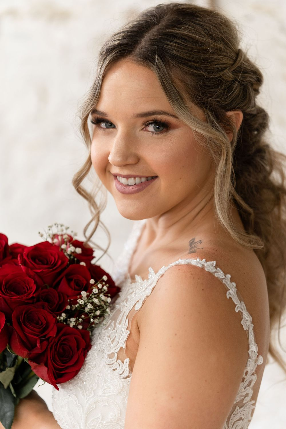 Bridal beauty portrait with bouquet by alexis Burton photographer Hamilton wedding photographer