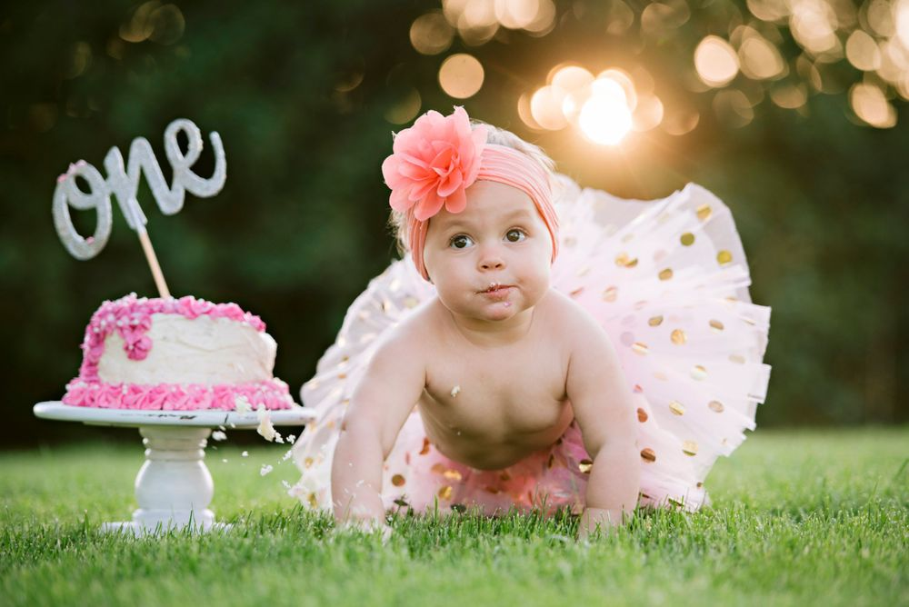 First birthday cake and cute baby wearing pink tutu