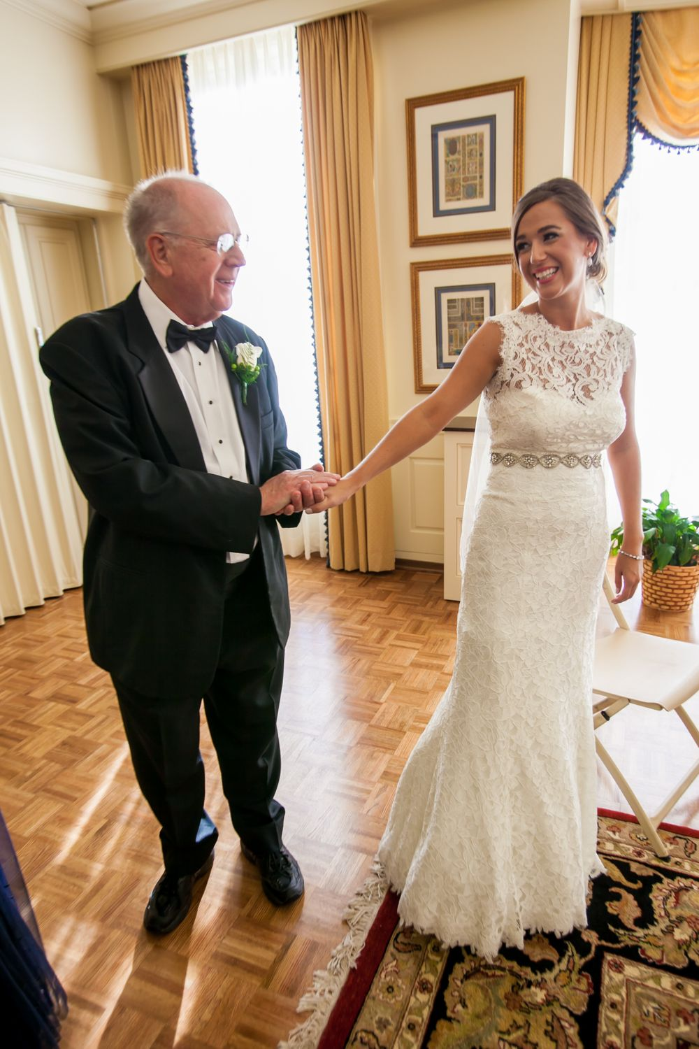 Page has a First Look with her father before her wedding at Eastminster Presbyterian Church in Columbia, SC.