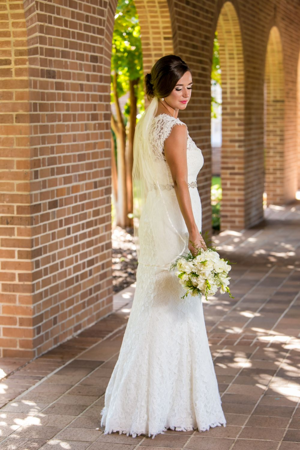 Bridal portrait of Page before her wedding at wedding at Eastminster Presbyterian Church in Columbia, SC.