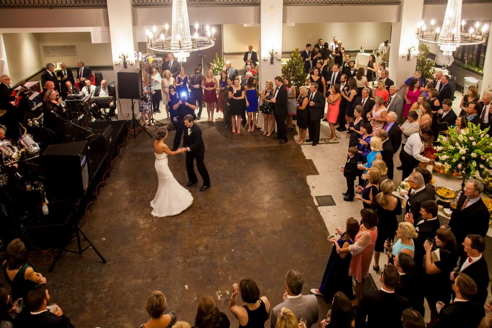 Bride Page and groom John have their First Dance during their reception at 1208 Washington Place in Columbia, SC