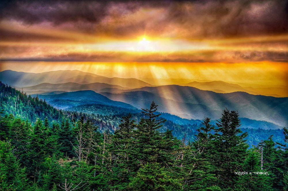 CarolinaPhotoArt.com- Up to 50% Off Gallery Prints - Great Smoky Mountains / Blue Ridge Parkway - Clingmans Dome Sunrays