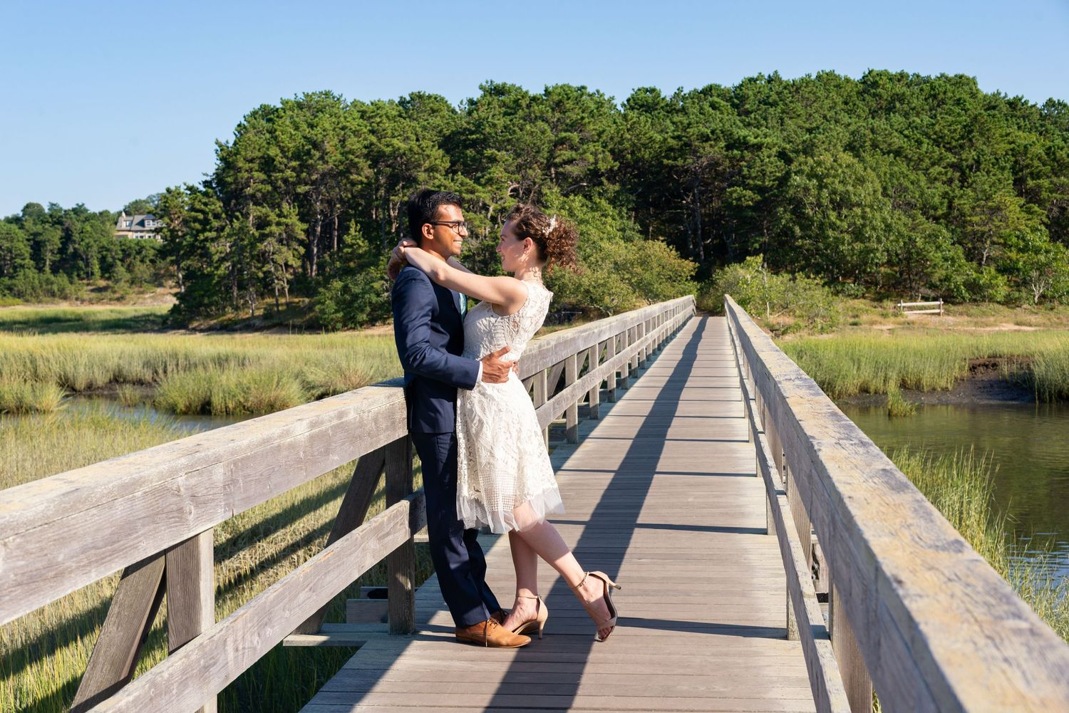 Leah Ramuglia Photography First Look on Uncle Tim's Bridge in Wellfleet, Cape Cod, MA