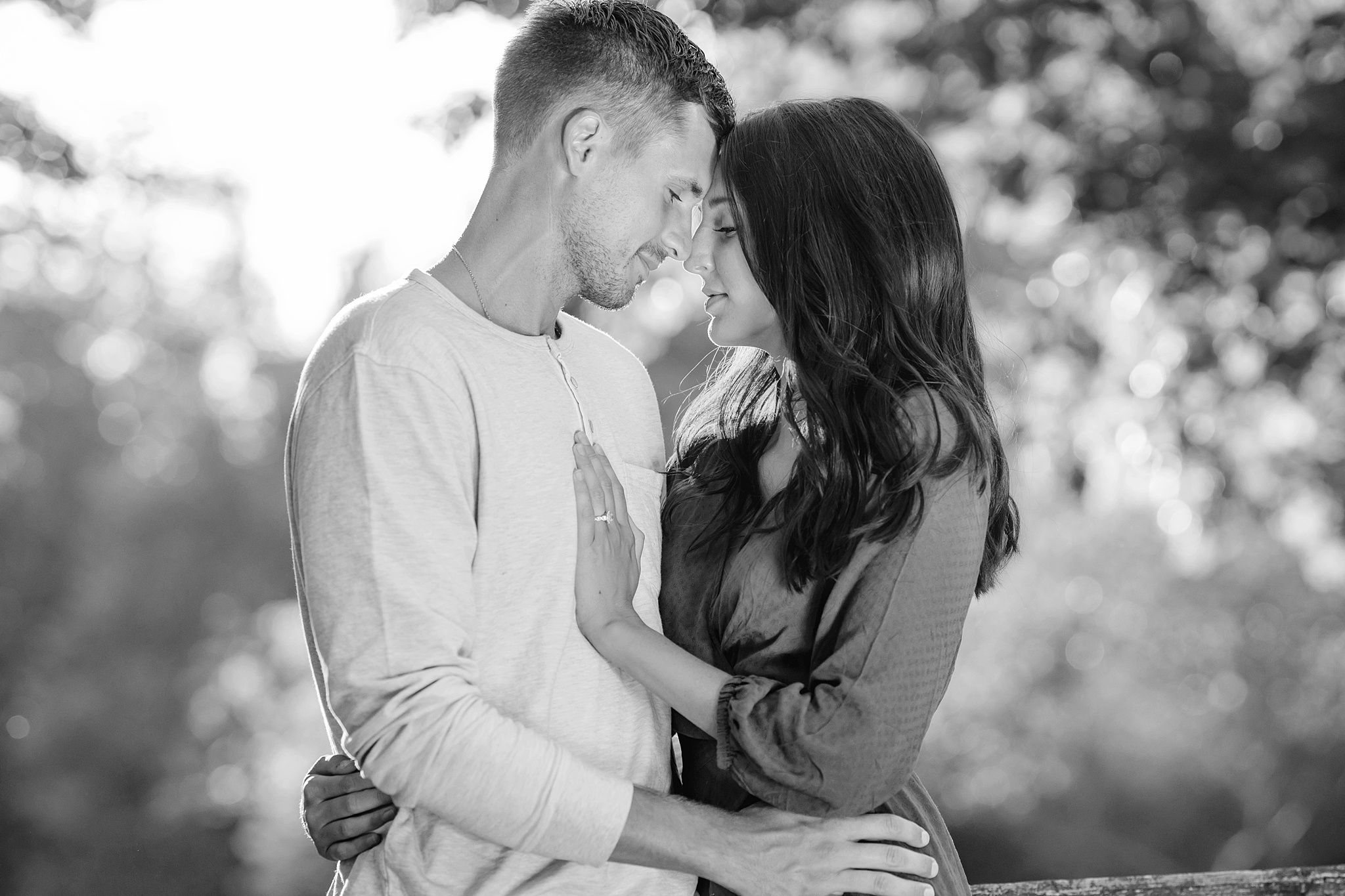 Ohio engagement photo shoot in a field in black and white
