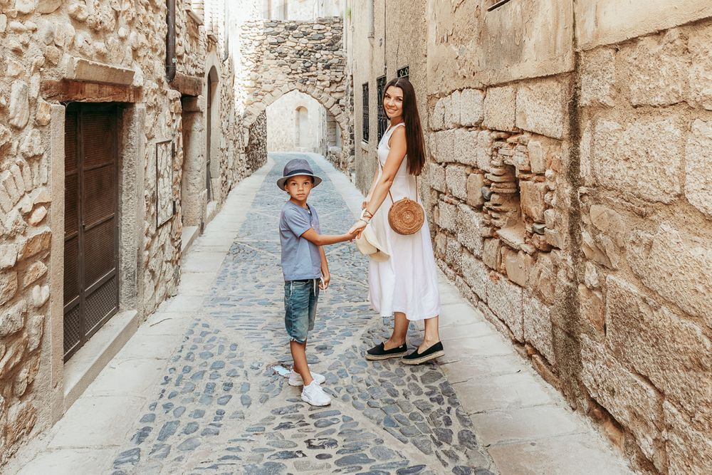 A mother and her son during a family photoshoot in Tarragona, Spain