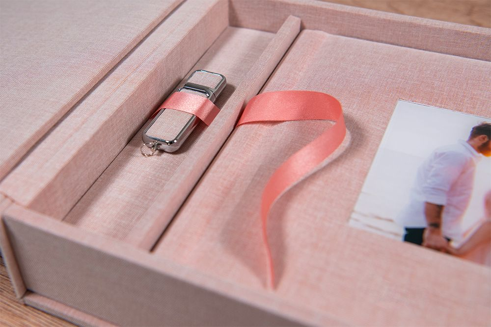USB stick with fabric wedding album, Robert Nelson wedding photography