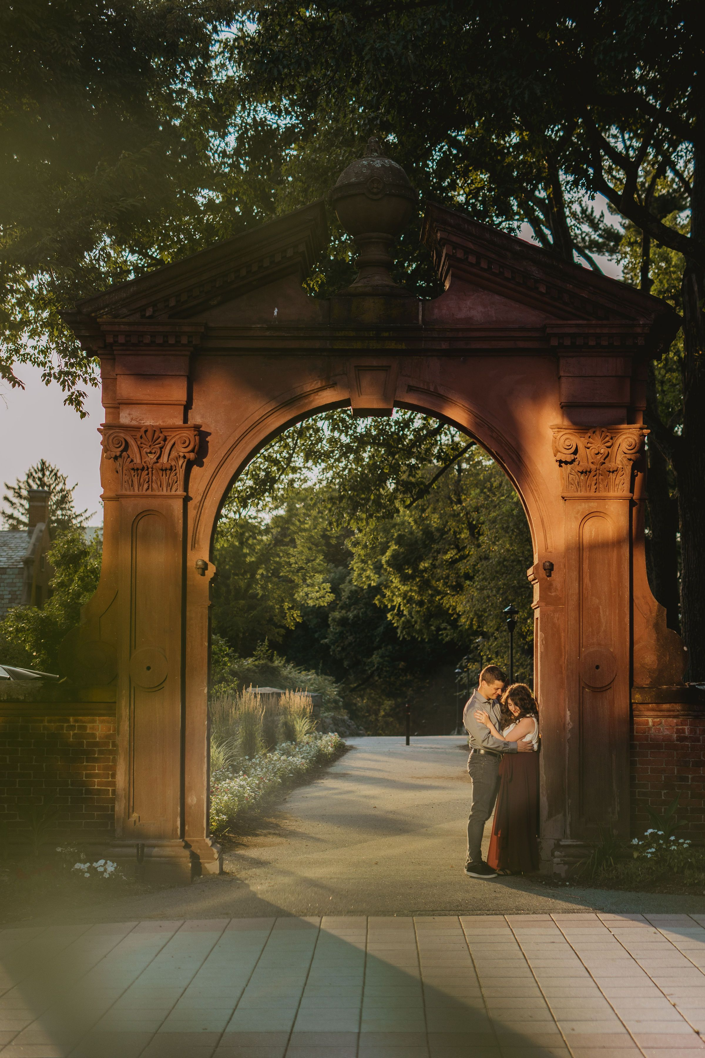 Ramapo College Engagement photos arch