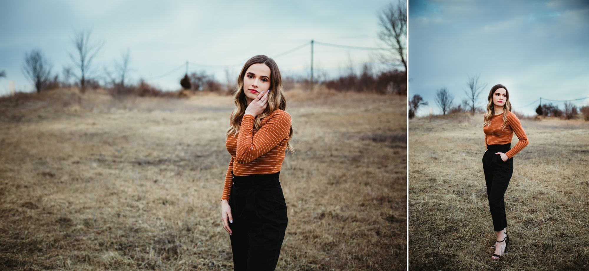 Photos of high school senior girl standing in orange shirt and black pants in an open field with blue sky behind.