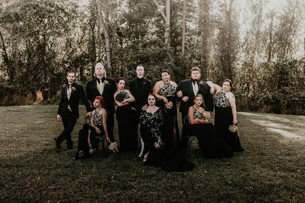 Black Dress Bridal Party, Dark & Moody Weddings