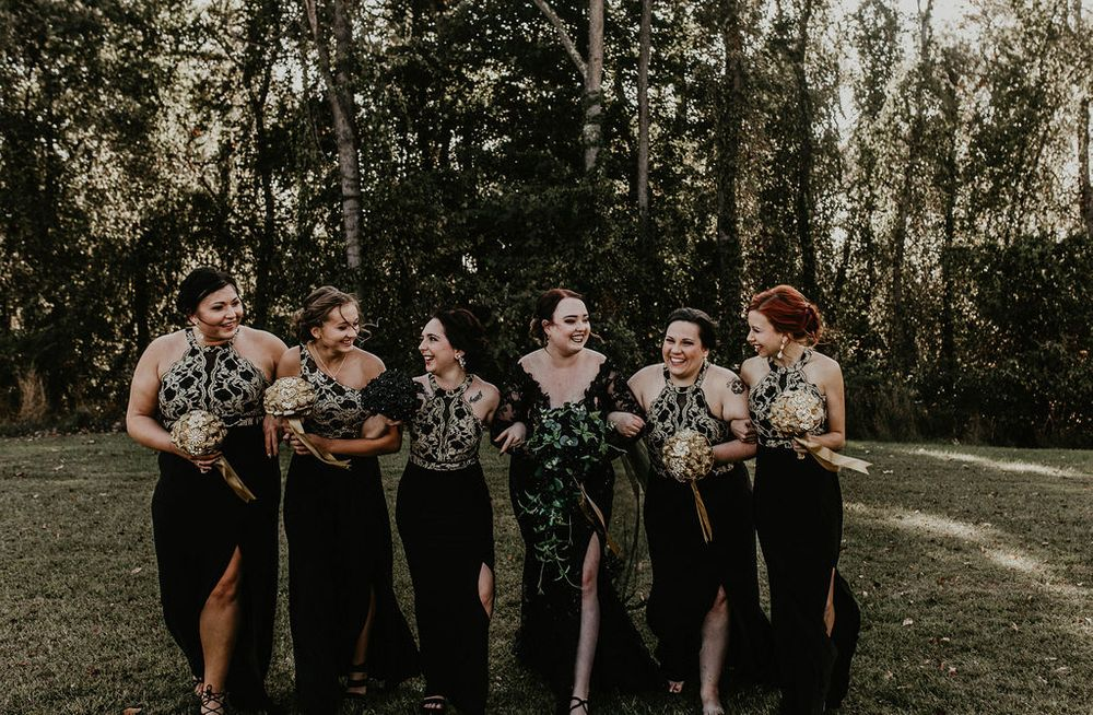 Black wedding dress, bridesmaids, dark and moody