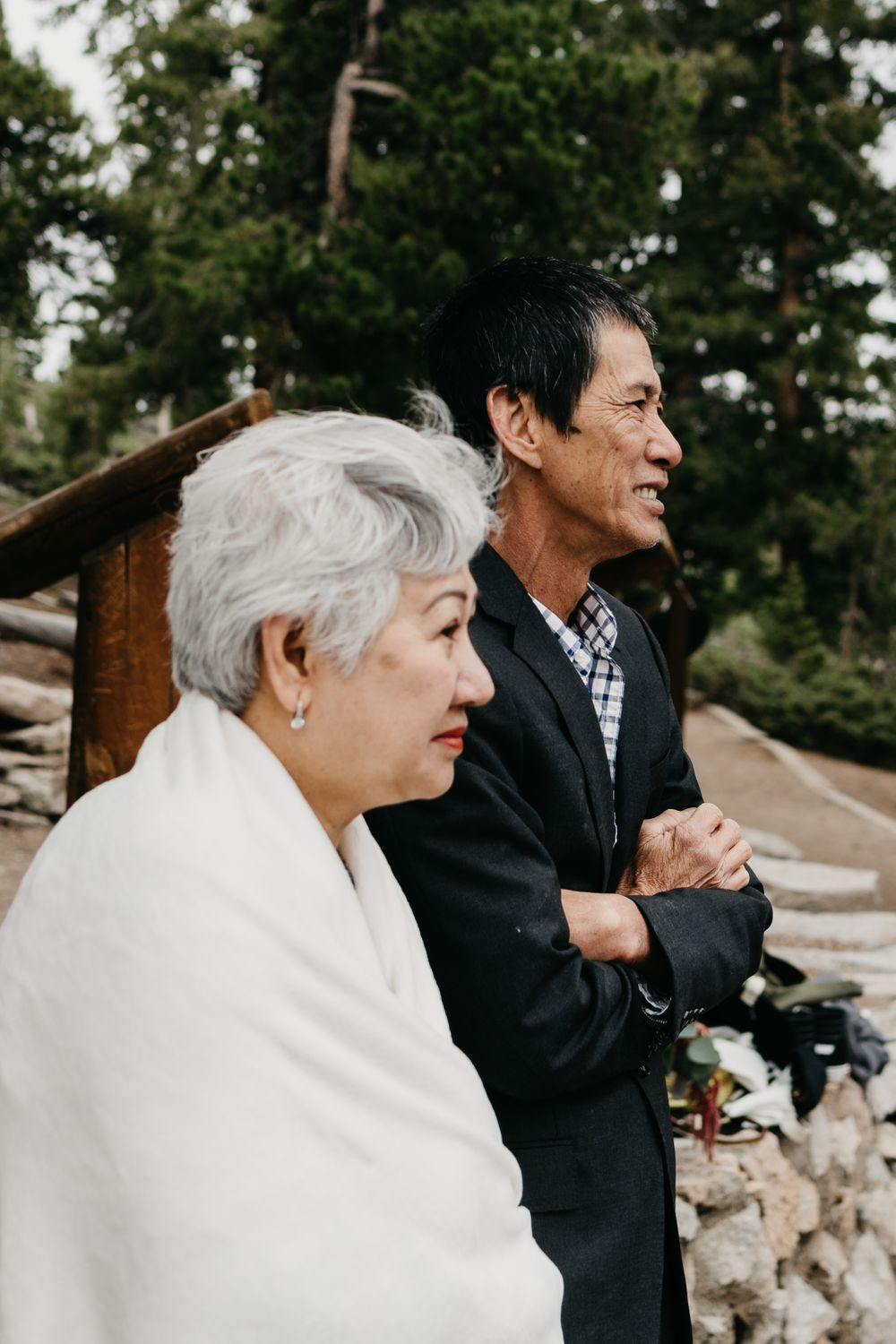 Family member emotions during a mountain wedding in Colorado