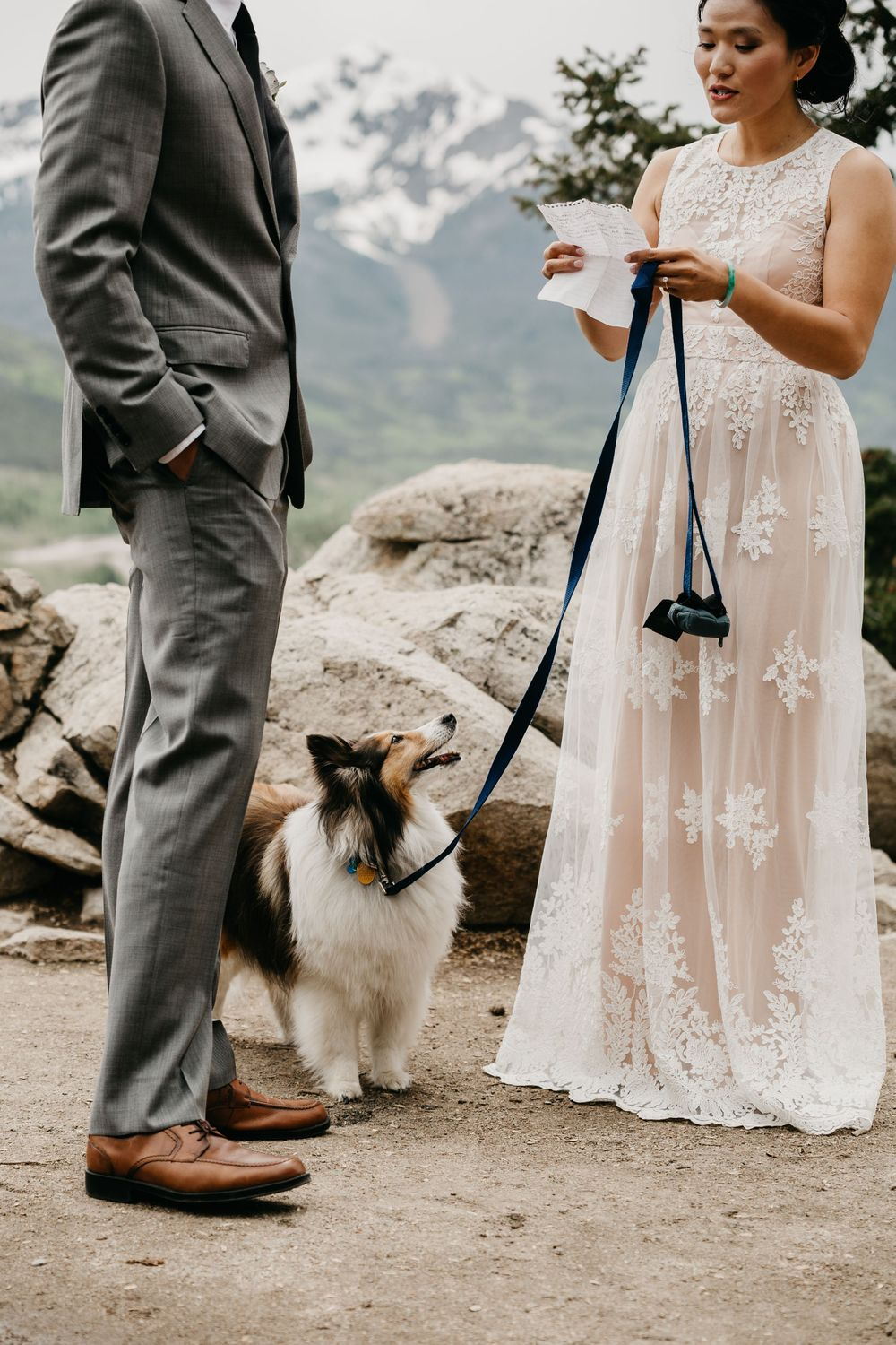 Exchanging vows boho wedding with dog Colorado