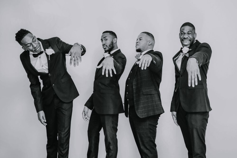 Black Groom and Groomsmen in black and white - Dunstable