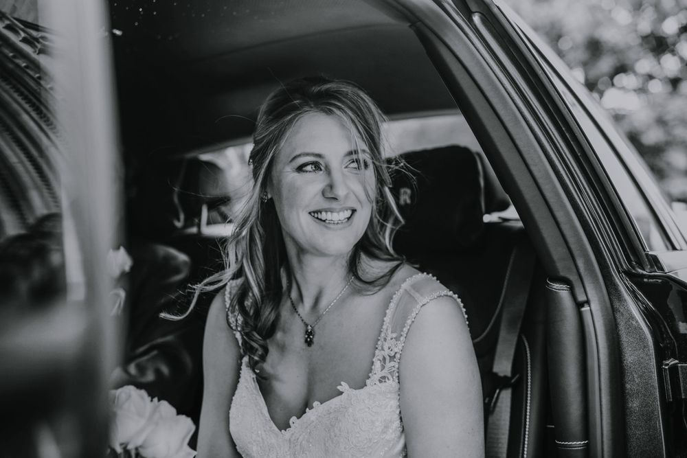 Bride in Wedding Car - Black and White - St Albans Wedding