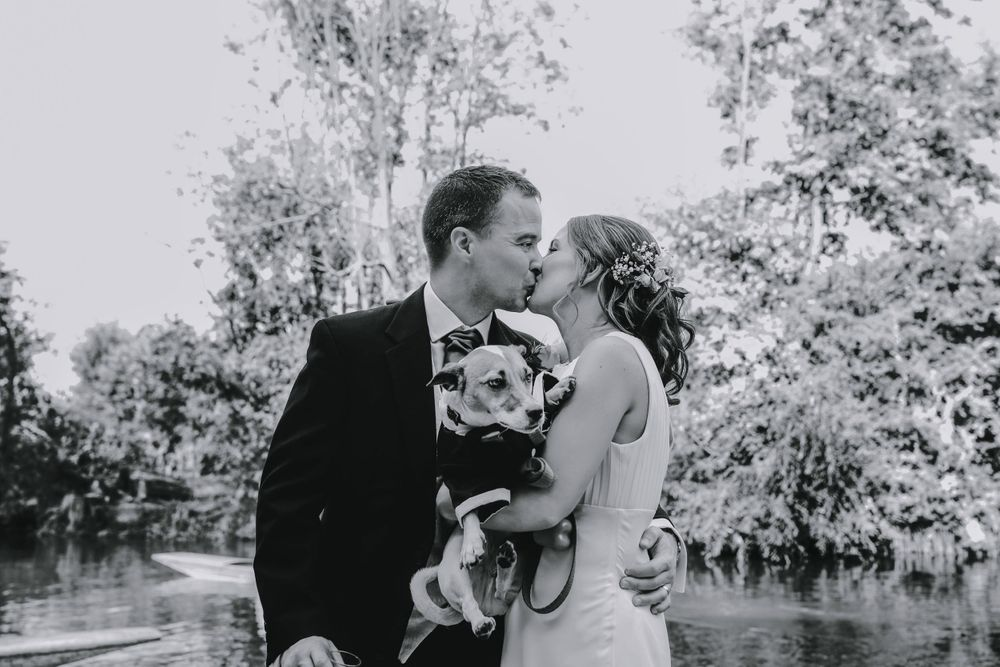 Bride and Groom and Dog in black and white - Oxford Wedding