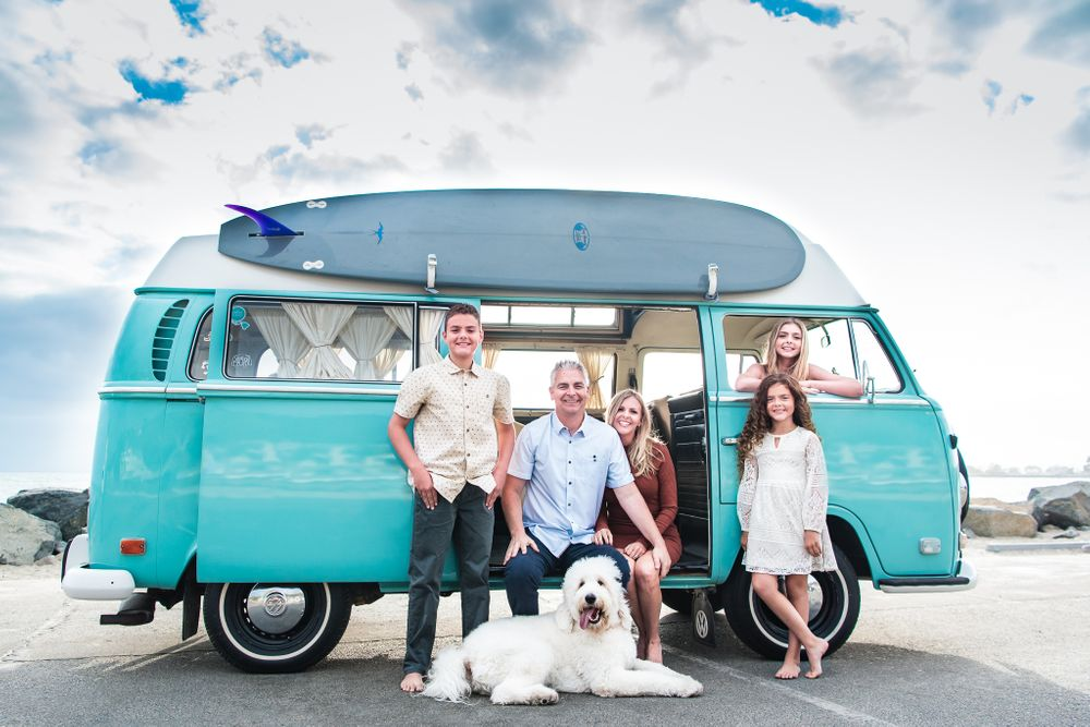 Image of a family with a classic VW Bus in Dana Point, CA