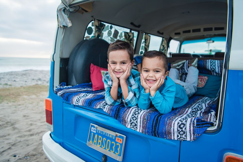 image of two brothers in the back of a classic VW Bus in Dana Point, CA