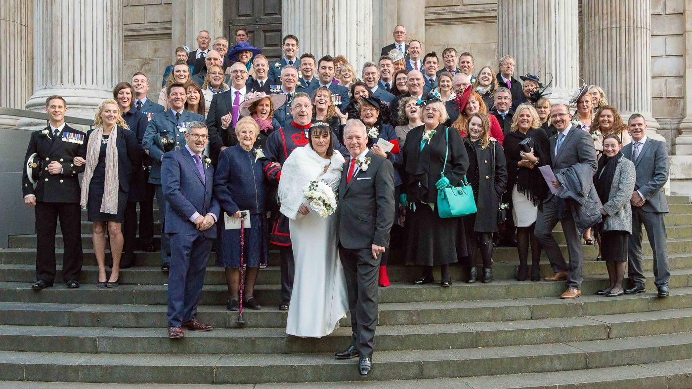 wedding group photo outside St Pauls Cathedral, London