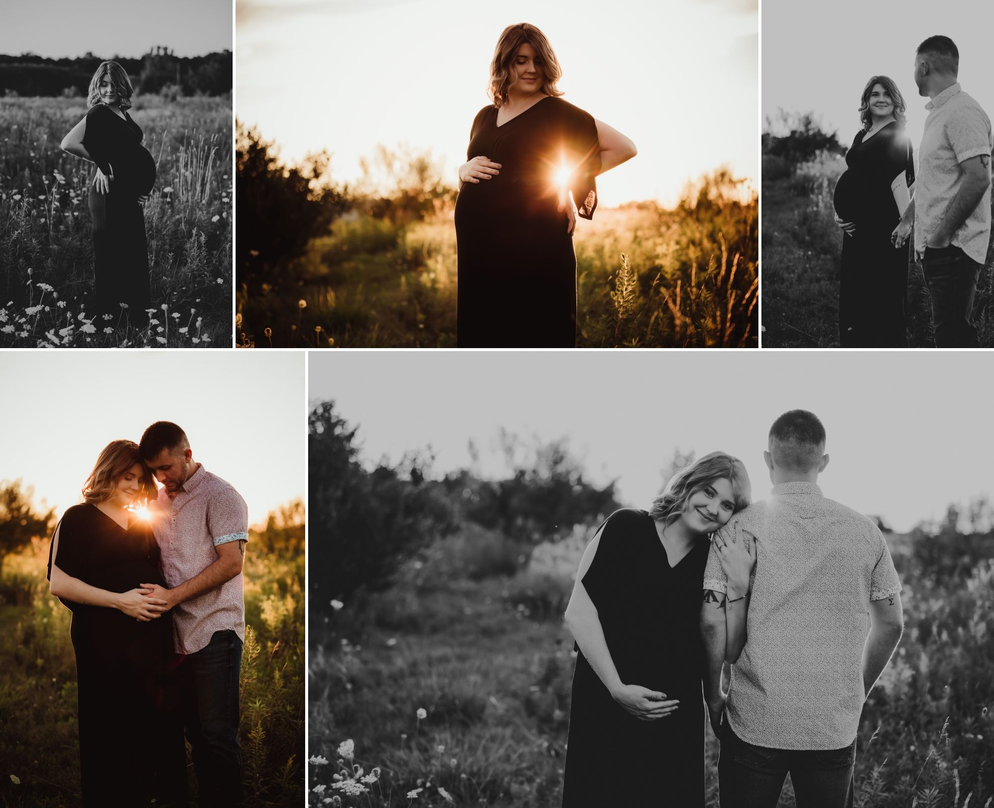 Photos of a man and pregnant woman in a field at sunset.