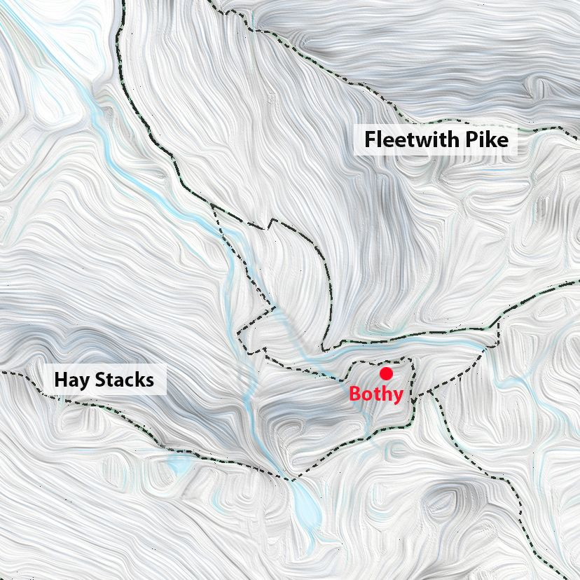 Location map of the Warnscale Head Bothy (bothy marked as a red dot)