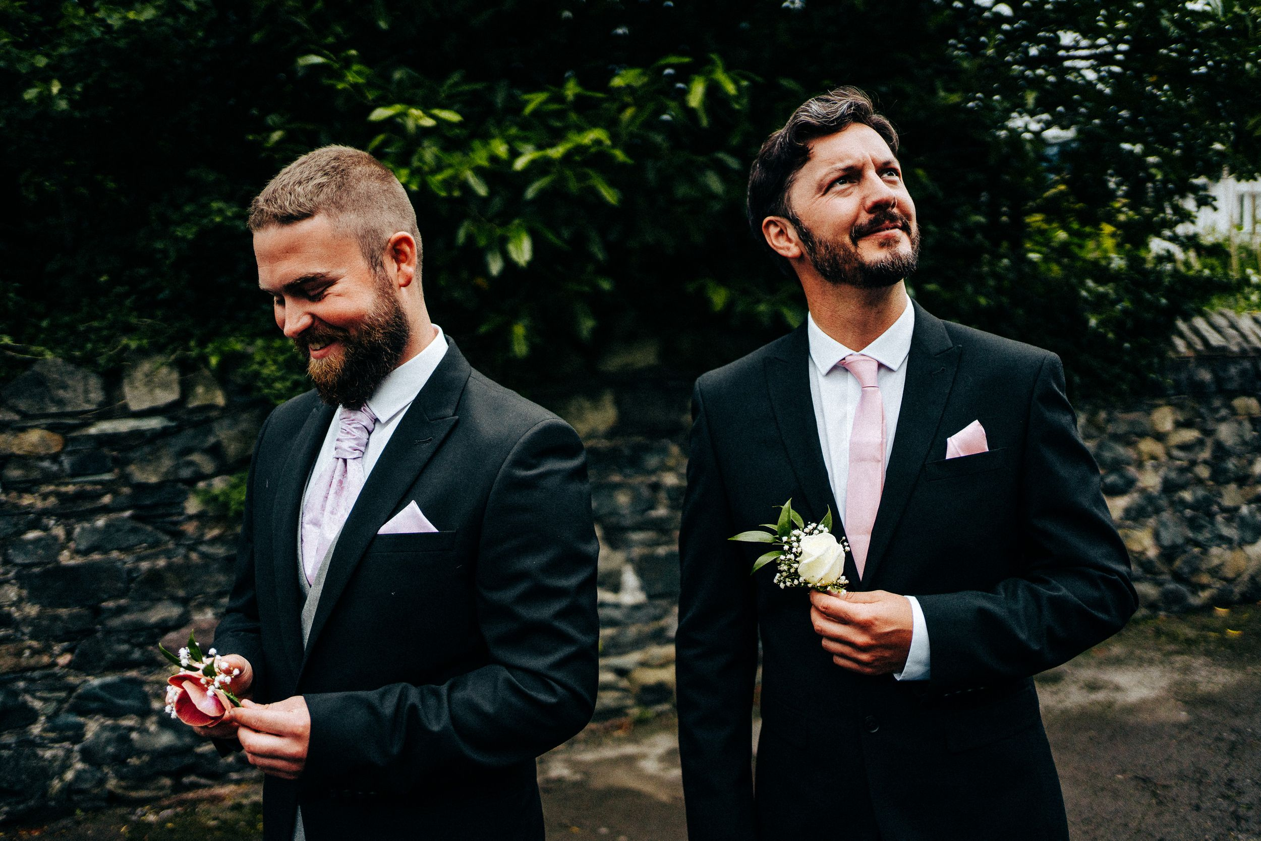 Keswick Wedding Photography - Grooms with flowers