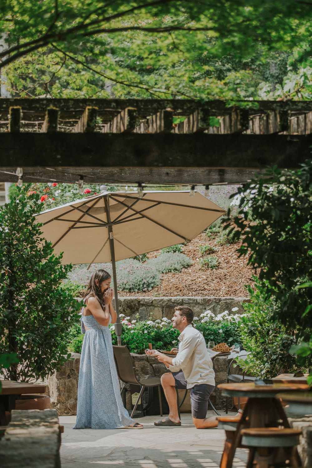 rebecca skidgel photography napa valley rombauer vineyards proposal engaged ring guy on knee girl happy crying