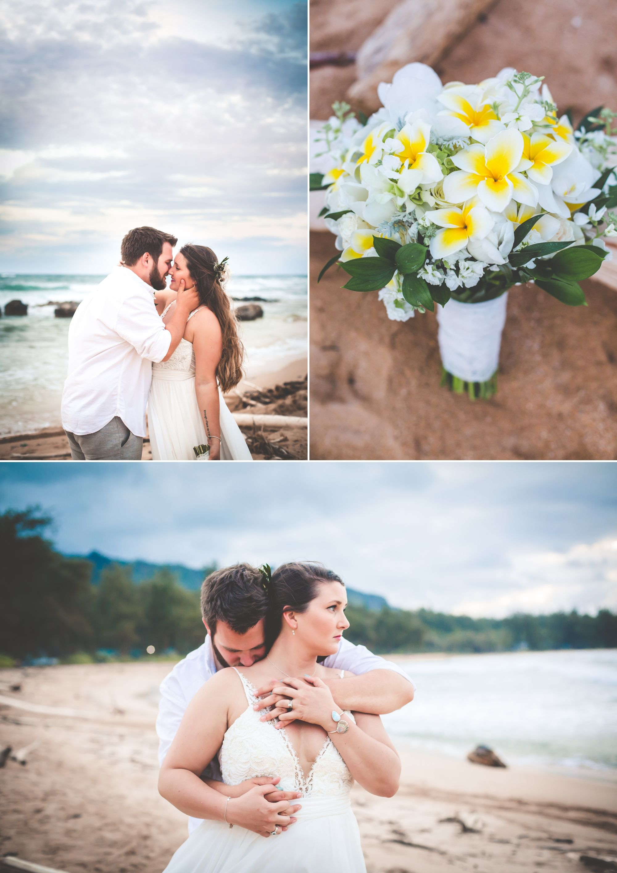 Photo of bride and groom standing on a beach almost kissing and smiling and up close photo of plumeria bouquet.