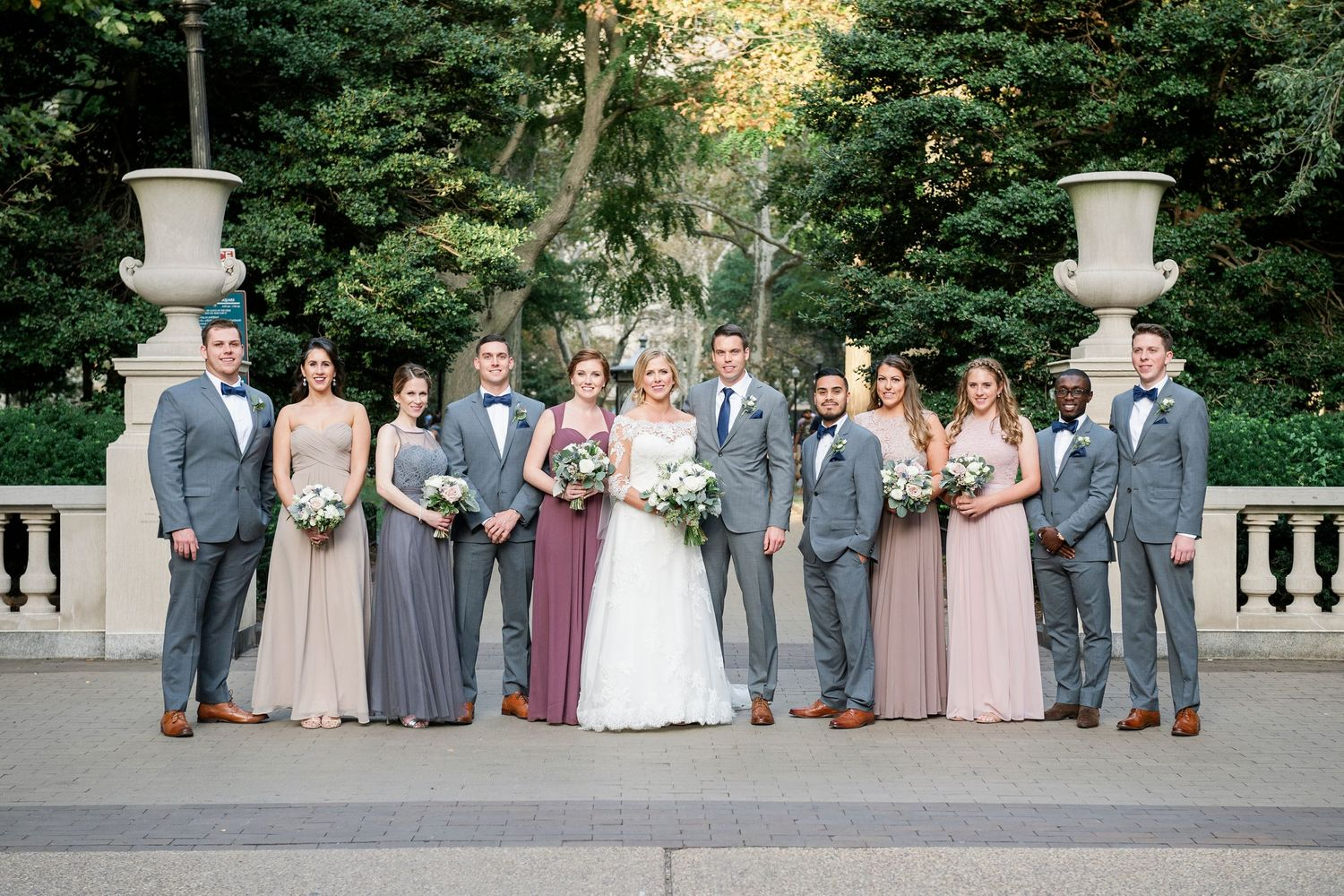 bridal party in Rittenhouse Square in Philadelphia