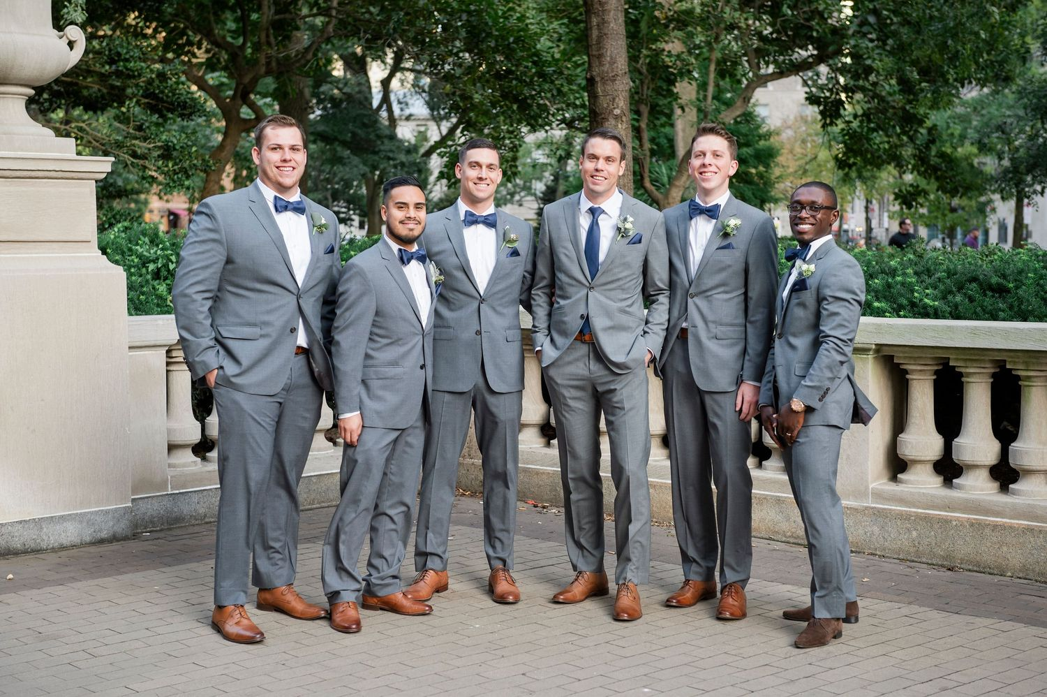 Groomsmen in Rittenhouse Square in Philadelphia