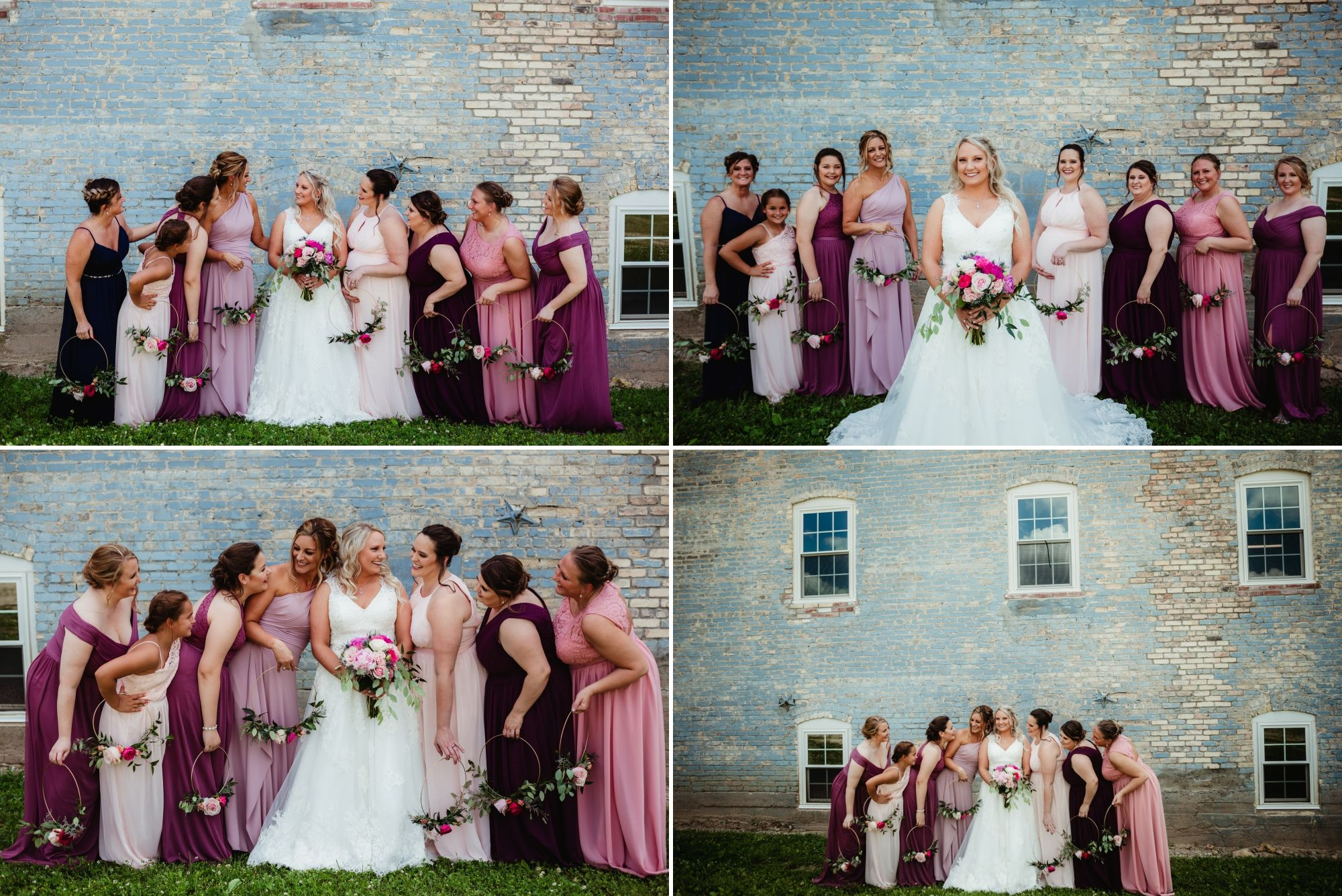 Collage of bridesmaids standing together smiling. Their dresses are pinks and purples. They're holding floral hoops.