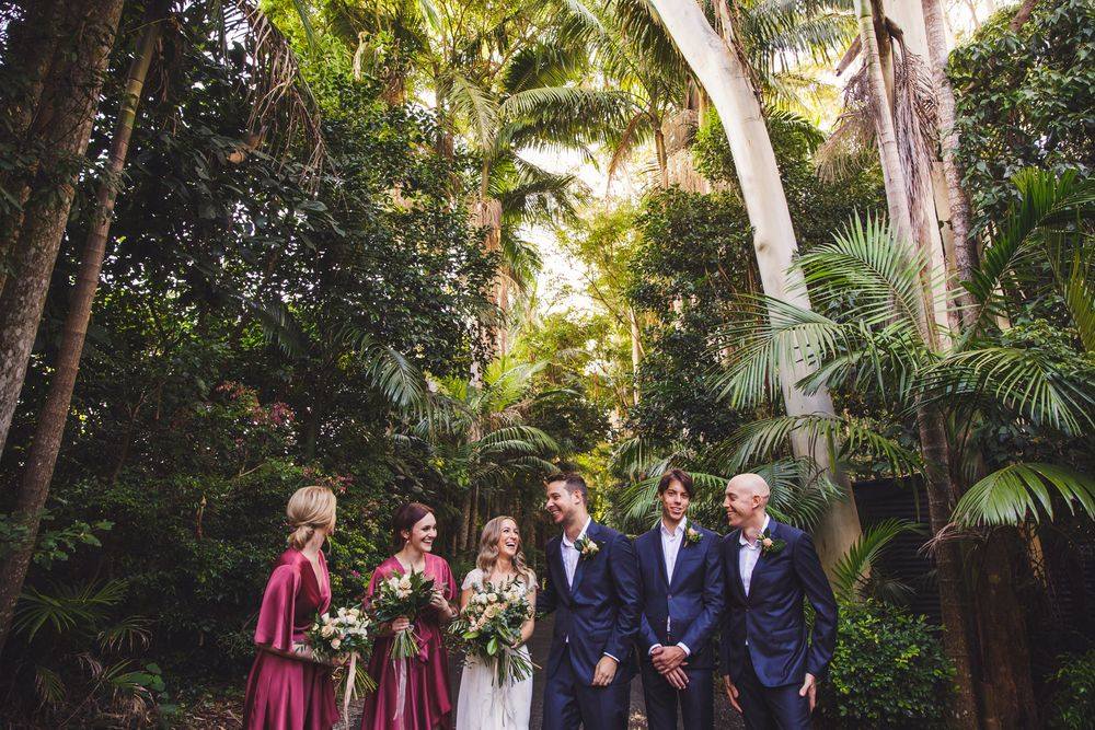 Bridal party standing together at Pethers Rainforest Retreat