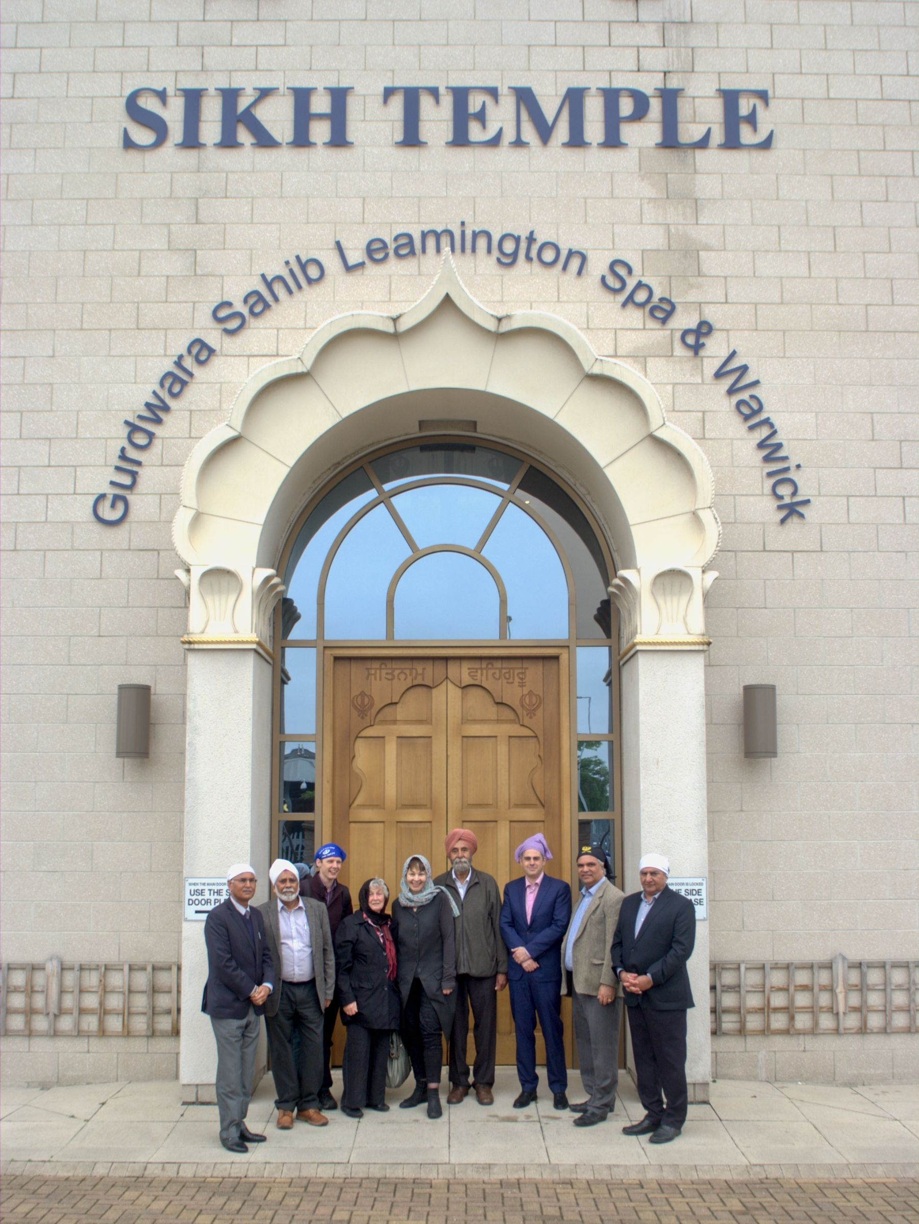 sikh temple leamington spa in warwickshire members of the temple pose with Green party co-leader Caroline Lucas