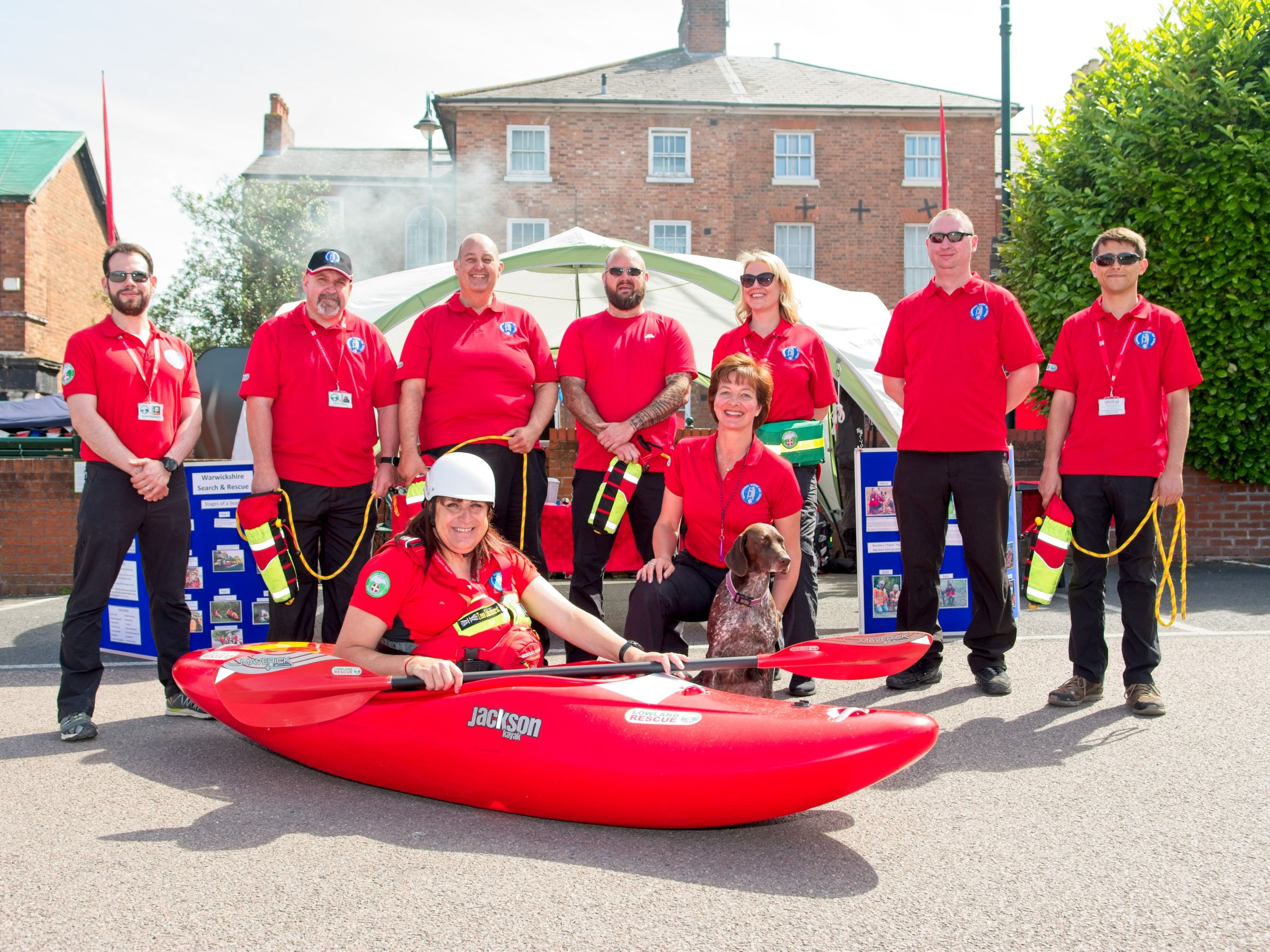 Leamington Canal Festival 2018 local rescue team pose for photograph
