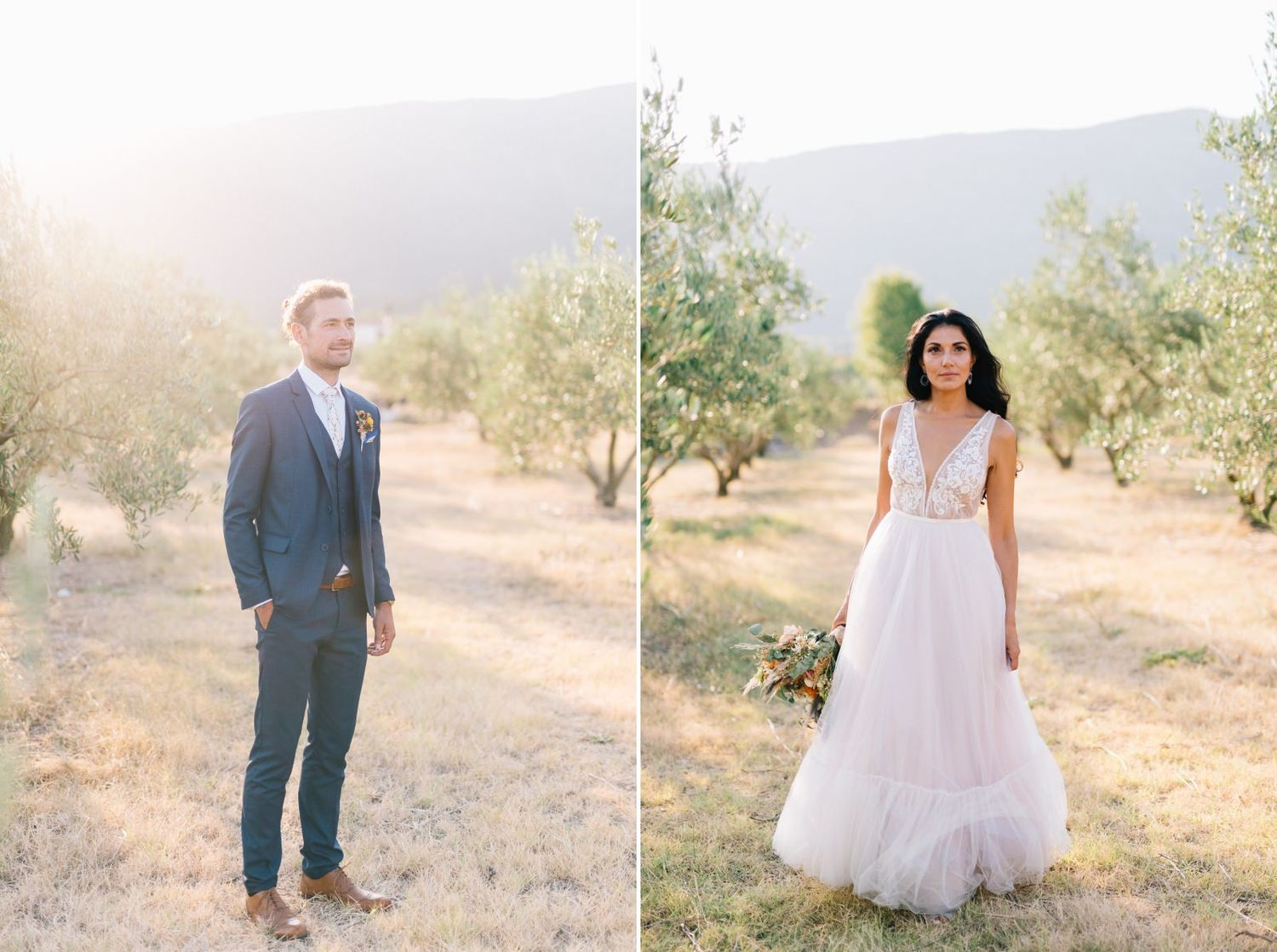 groom and bride portraits in an olive field in velventos kozani