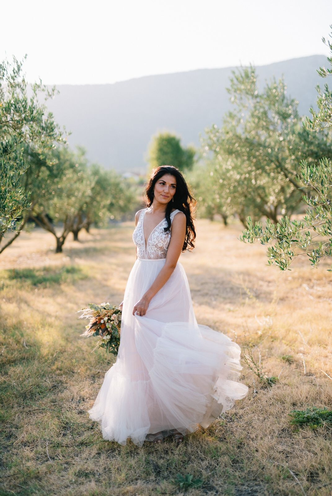 bride portraits in an olive field at velventos kozani