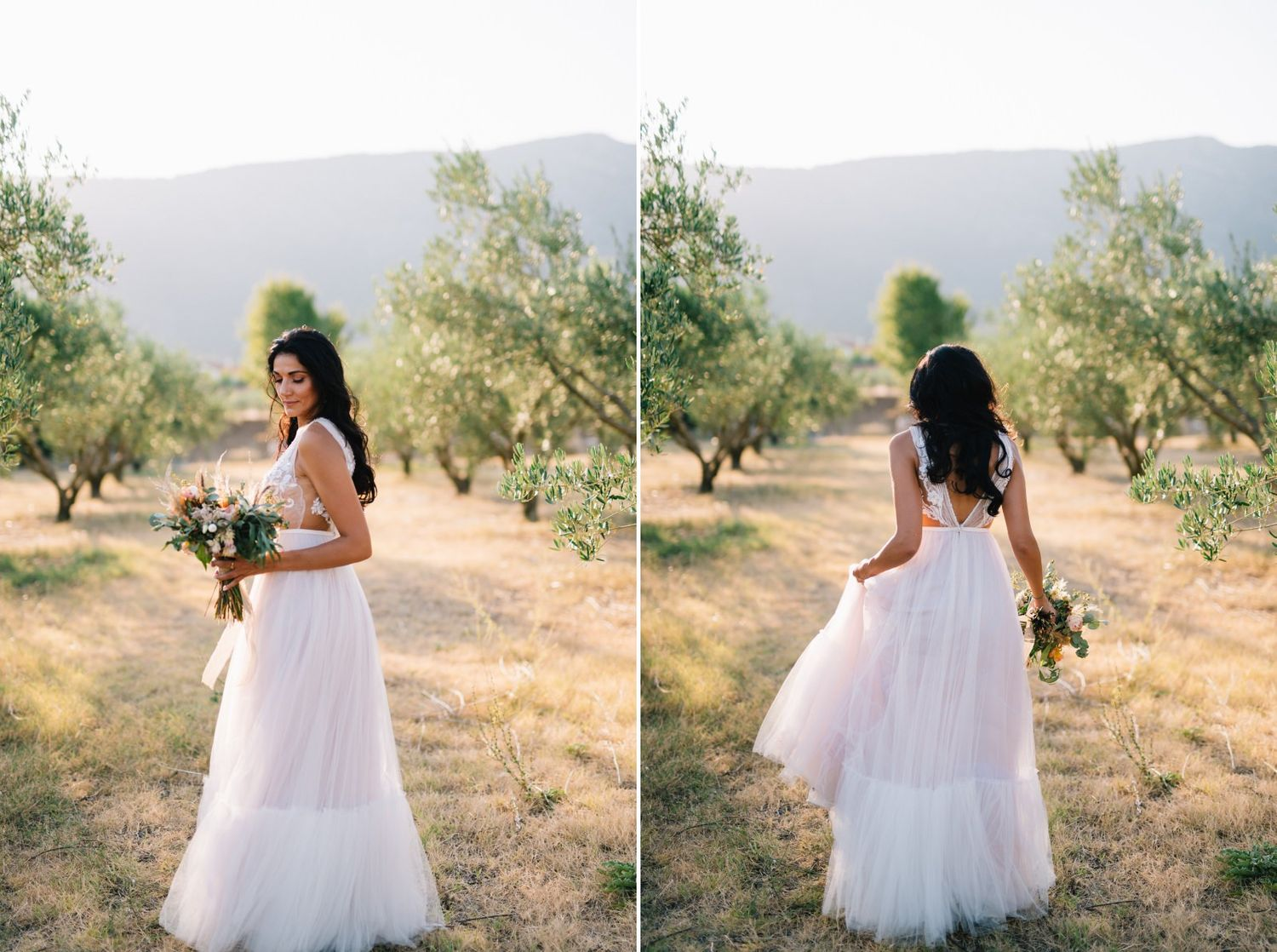 groom and bride portraits in an olive field at velventos kozani