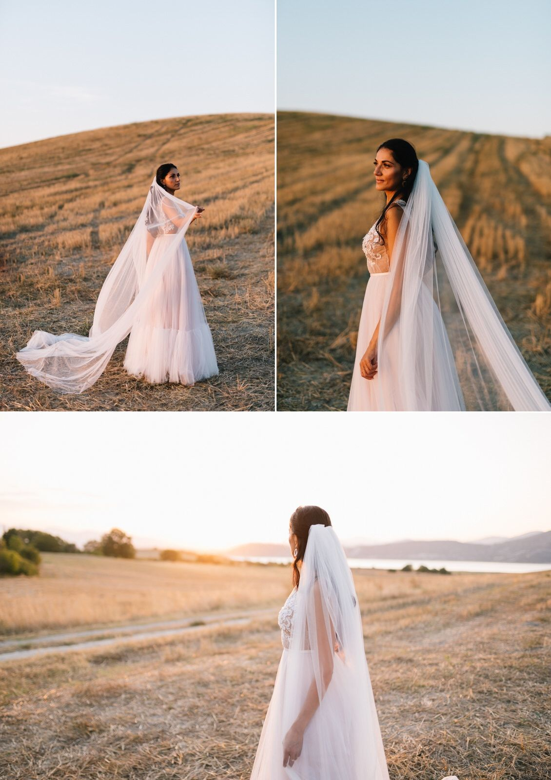 bride portraits in an field at velventos kozani