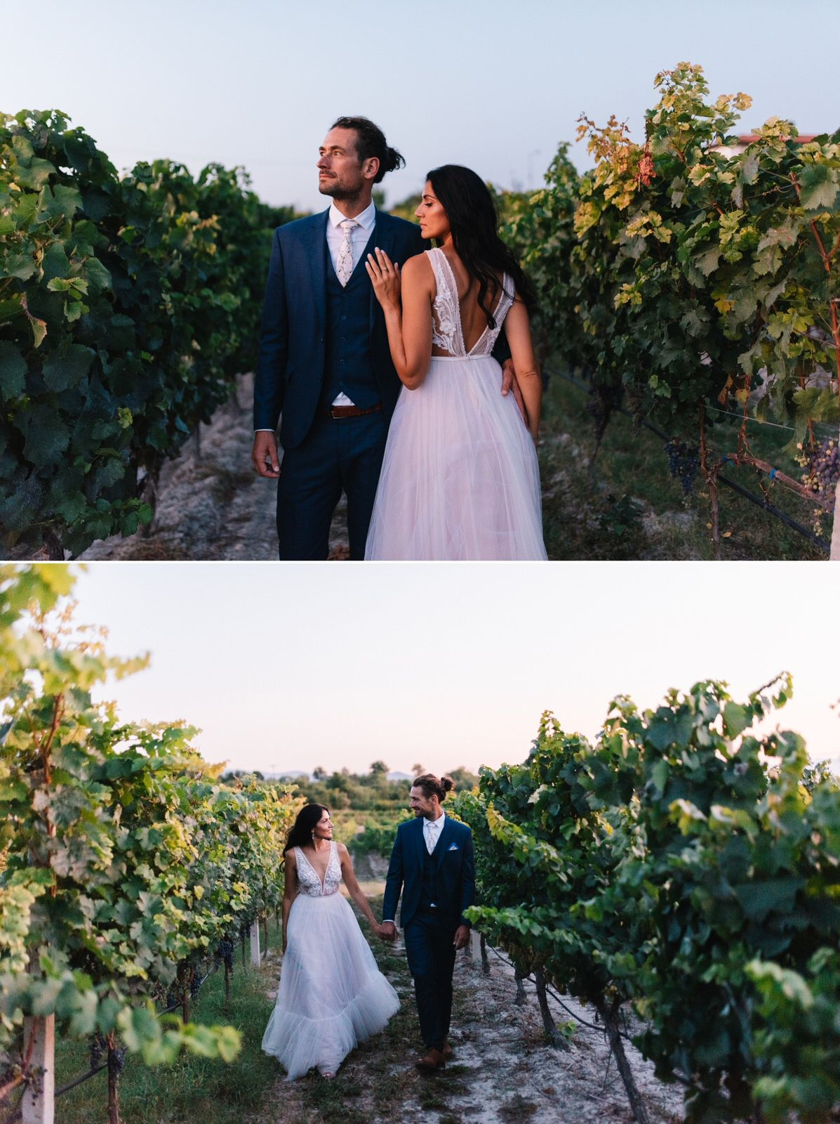 groom and bride portraits in kamkoutis winery at velventos kozani