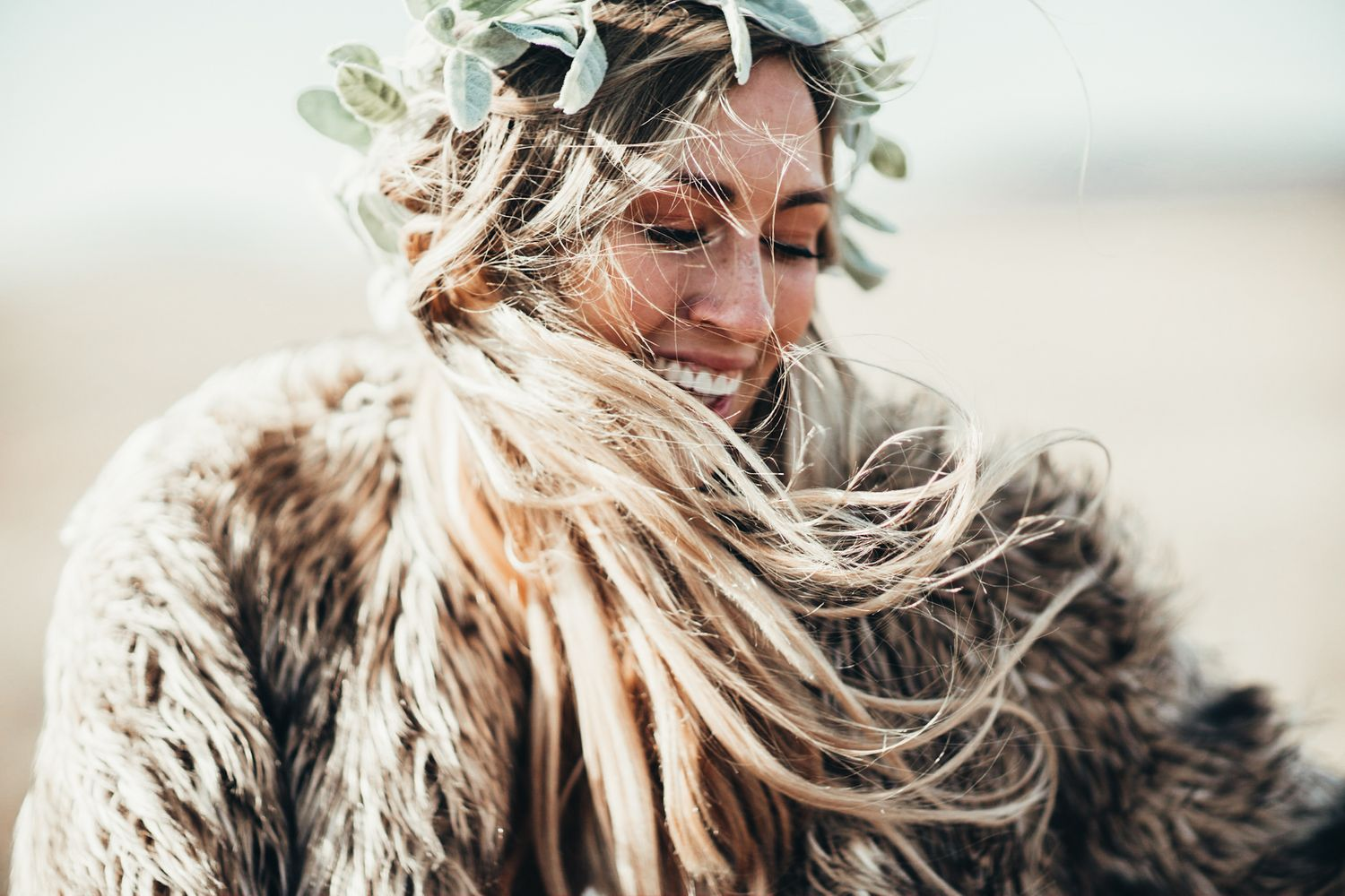 Photo Of A Young Happy Bride In The Wichita Mountains With Wind Blown Hair