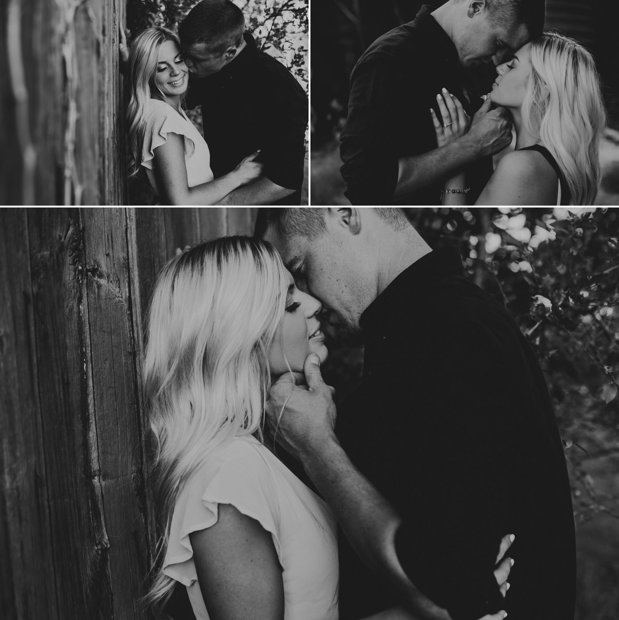 Black and white collage of man kissing woman's cheek, their foreheads together, and them almost kissing.
