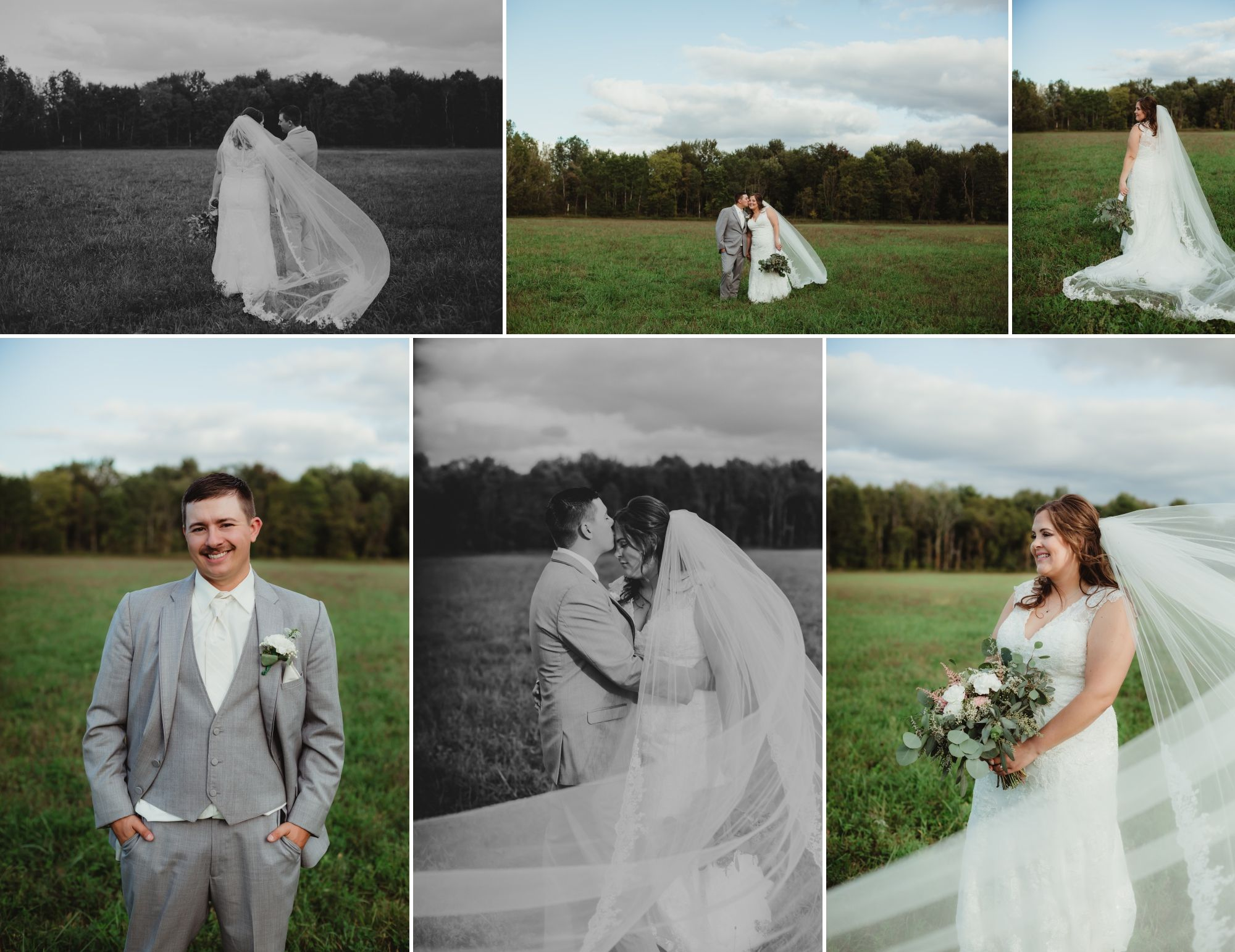 Collage of the bride and groom posing together and separately in a field. Her veil is cathedral length and blows.