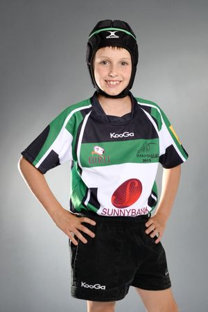 Young Rugby Union player studio shot