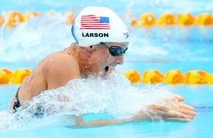 Breaststroke swimmer breathing between strokes