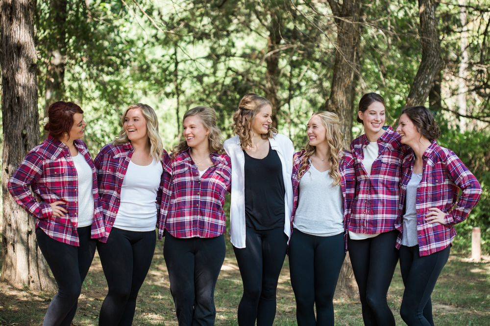 Bride and bridesmaids flannel shirts sedalia missouri