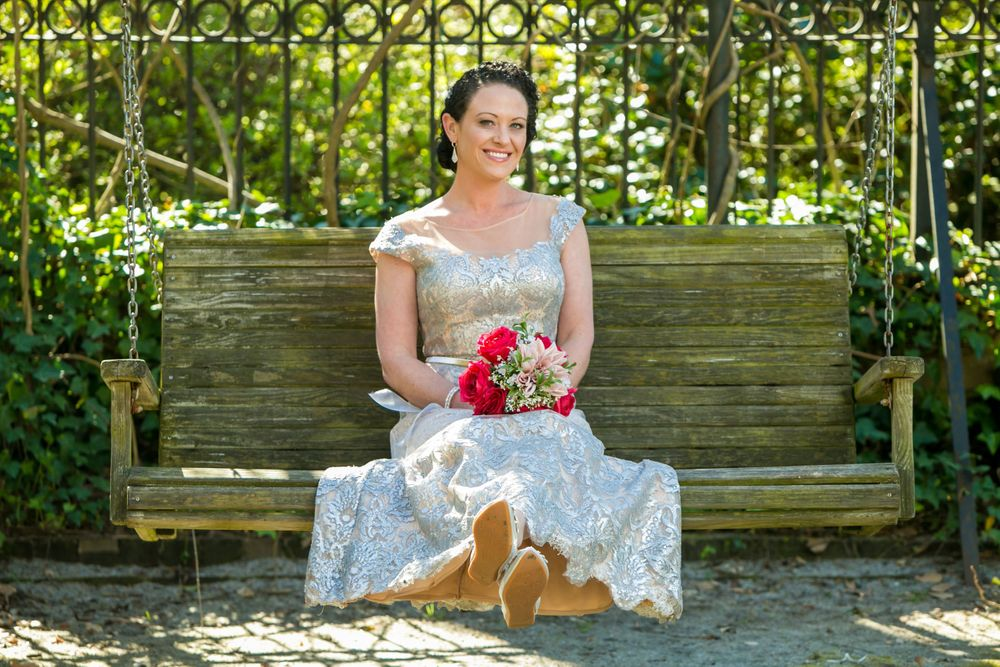 Bridal portrait at the Lace House on the grounds of the South Carolina Governor's Mansion