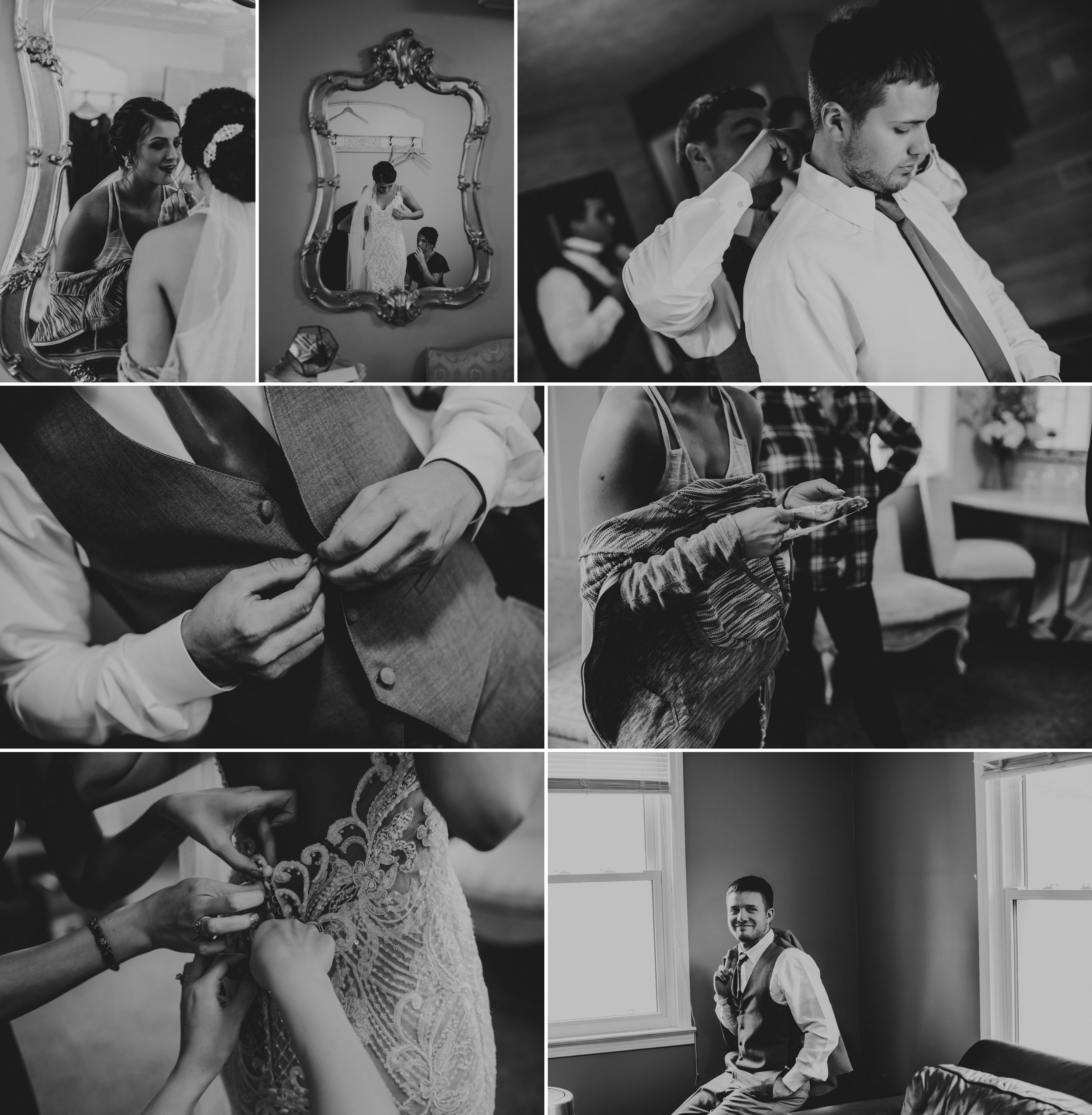 Black and white collage of the bride and groom getting dressed for the wedding.