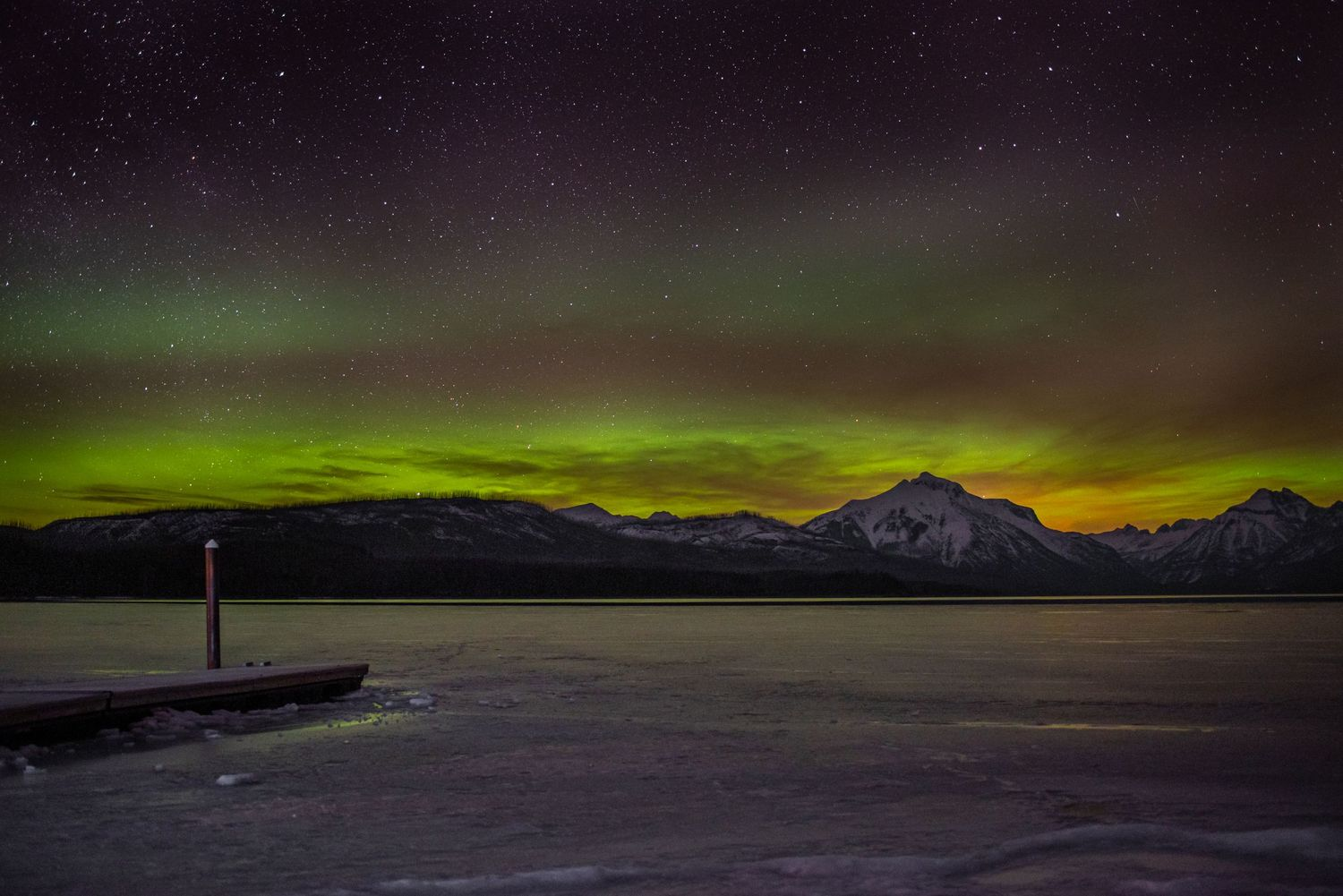 Northern Lights from Lake Mcdonald in Glacier National Park, March 2021