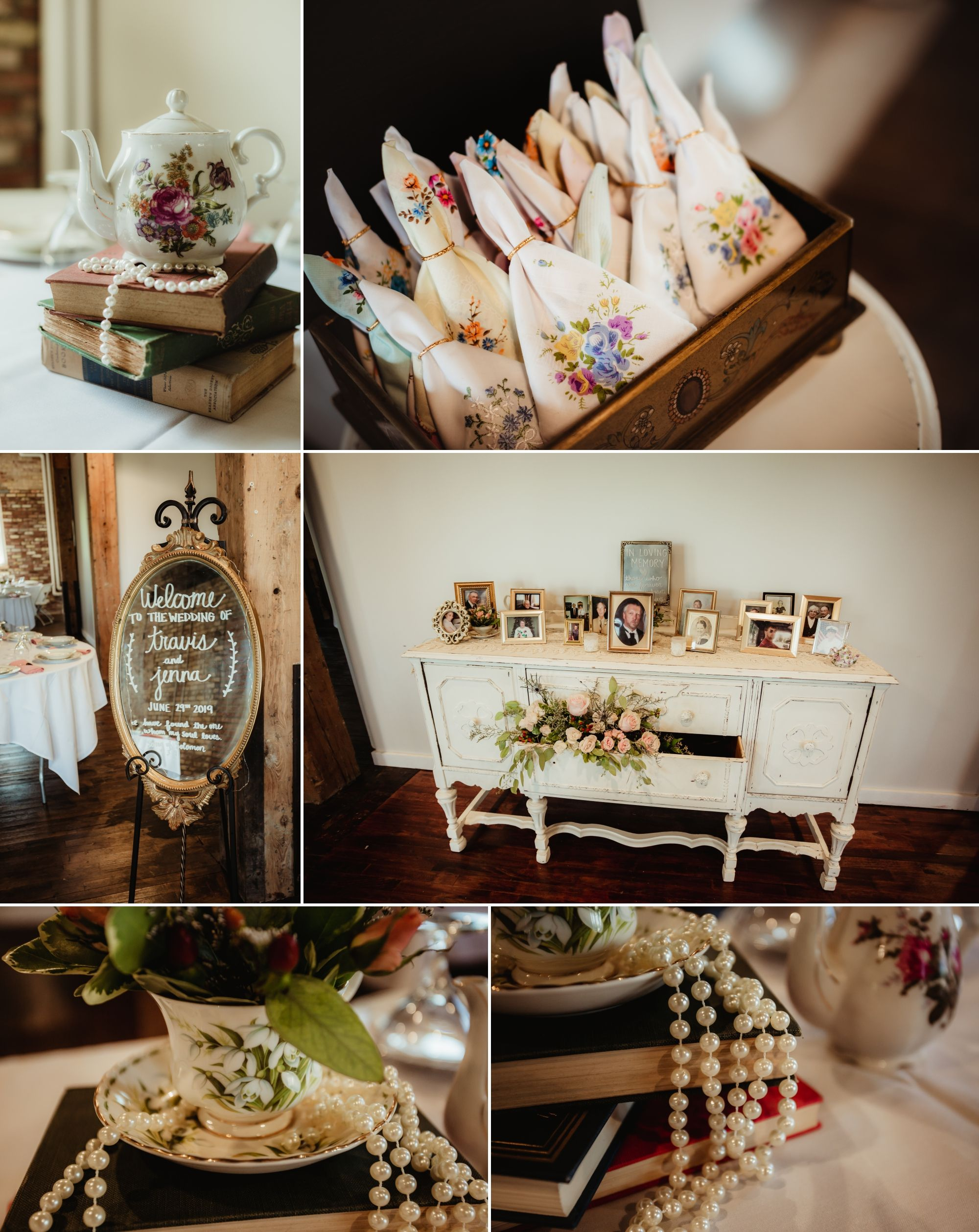 Wedding details: books, china, handkerchiefs, photos of loved ones, welcome mirror.