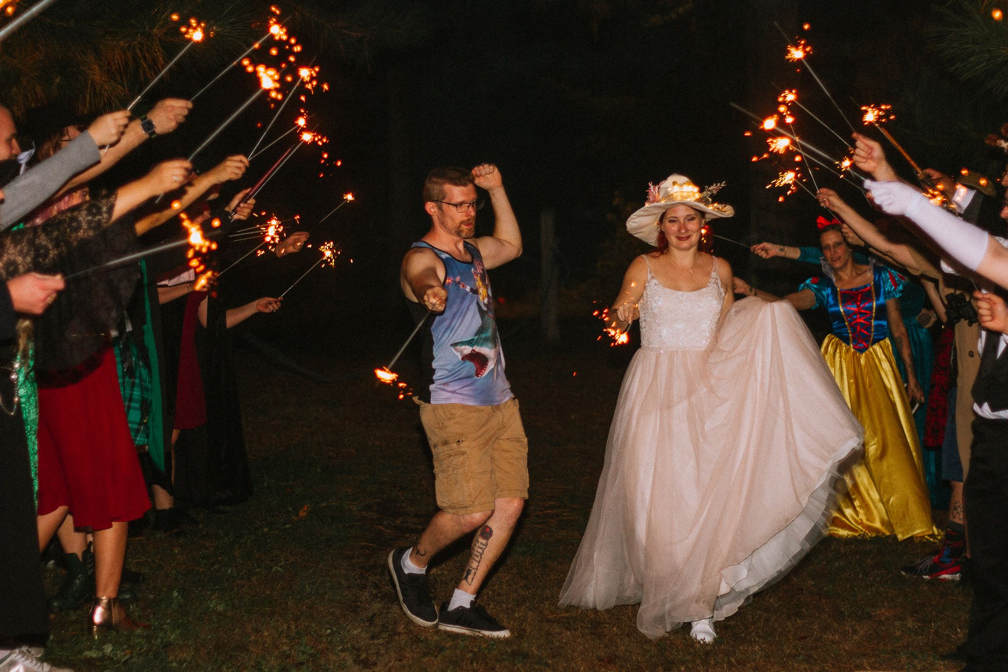 bride and groom dance during their intimate sparkler exit